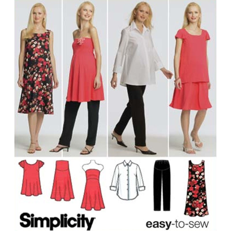 Simplicity Sewing Pattern 4704 Maternity Shirt Knit Dress