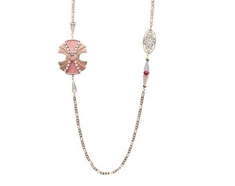 Art deco enameled necklace pink beetle and rhinestone necklace high fantasy