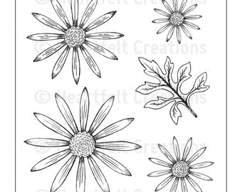 Heartfelt Creations Cling Rubber Stamp Set ~ Delicate Asters ~ HCPC 3494