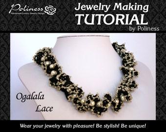 Beading -  Beads making - Jewelry making - Patterns - Tutorials -  Beaded necklace - Ogalala lace -  Beaded lace - PDF