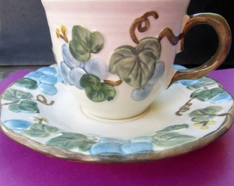 Metlox Poppy Trail Poppytrail Sculptured Grape Cup and Saucer