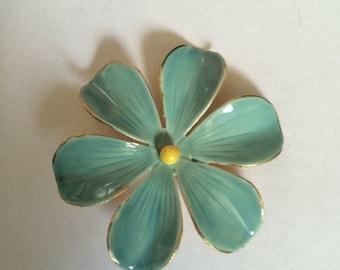Signed Sandor Enamel Flower Pin