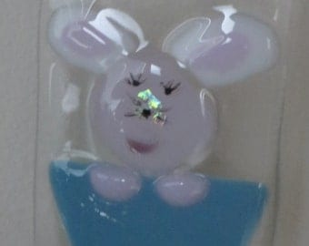 Fused glass Bunny basket suncatcher. Easter bunny in a basket, window decor, holiday decoration spring.