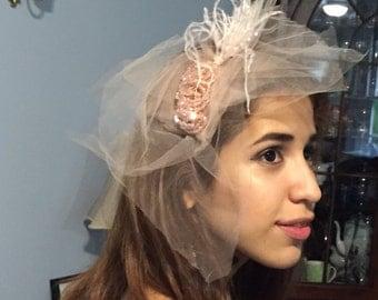 Birdcage Fascinator Bridal veil.