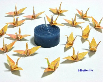 """100pcs Yellow Color 1.5"""" Origami Cranes Hand-folded From 1.5""""x1.5"""" Square Paper. (TX paper series). #FC15-22."""
