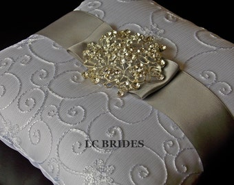 Wedding Ring Bearer Pillow Silver