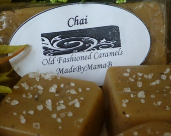 Salted Chai Tea Caramel  ~ Box of 32 extra creamy, Soft, Gourmet, homemade caramels Chai Spice
