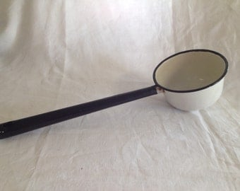10% OFF SALE Retro Black and White Enamel Ladle/ Spoon