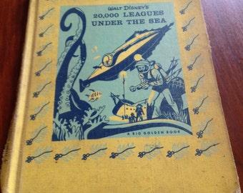 1950s Walt Disneys 20,000 Leages Under The Sea A Big Golden Book
