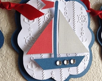 Nautical Baby Shower Banner-Blue Red and Gray