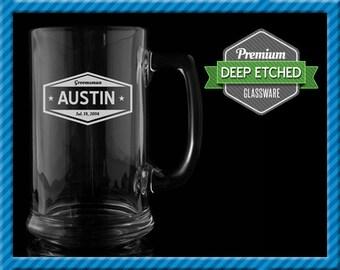 Groomsmen Gift, Personalized Beer Mugs, Personalized Vintage Sign 16 oz Etched Mugs, Groomsmen Gifts Wedding
