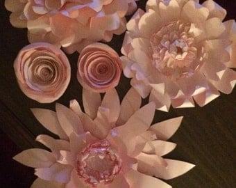 Pretty Giant pink paper flower assortment