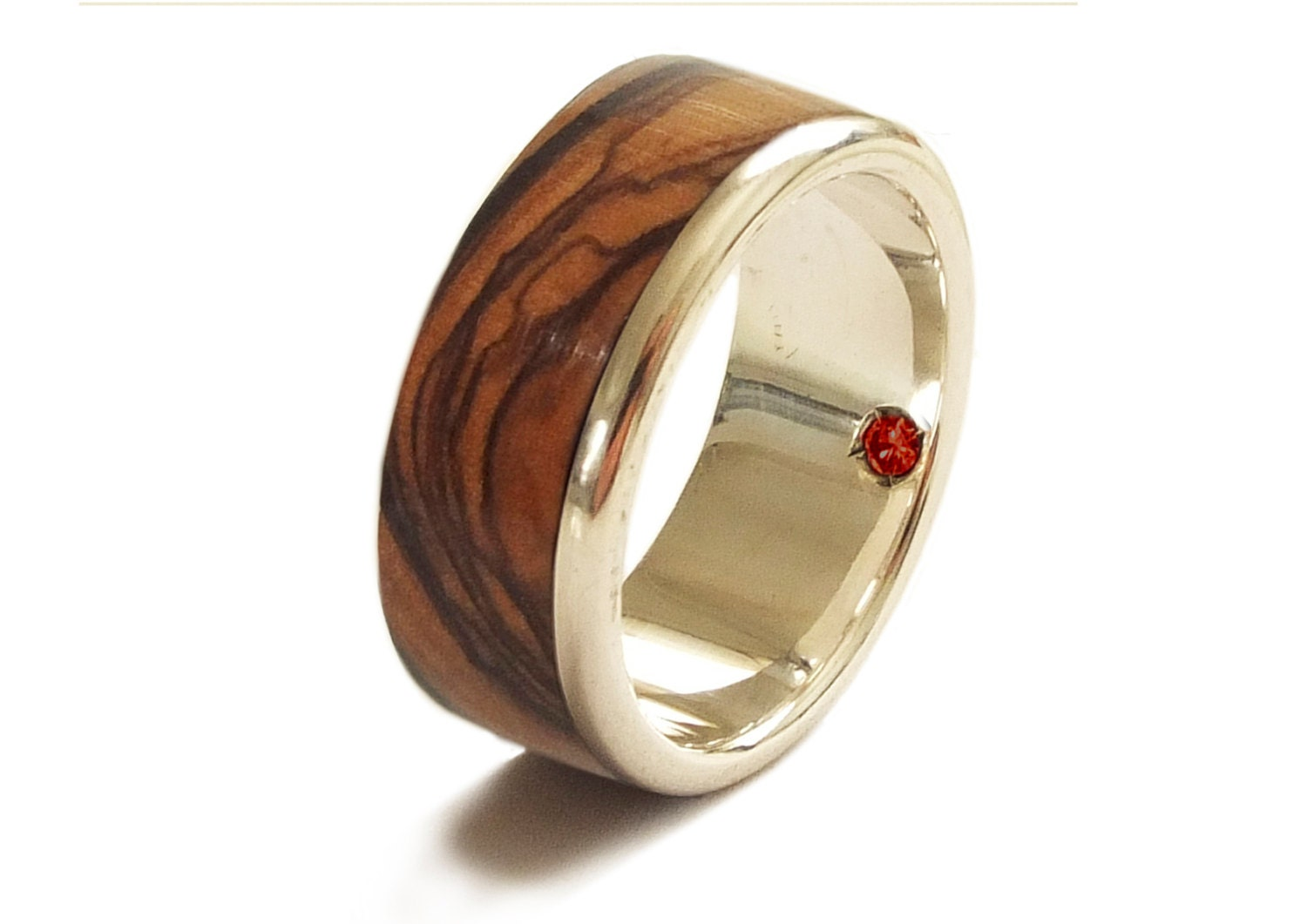 olive wood ring in sterling silver and garnet wedding band