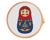 Matryoshka with flower cross stitch pattern Matrioshka Russian doll Babushka doll Instant download pdf Russian Moscow Ukraine Kiev Minsk