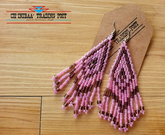 Lavendar and Purple Traditional Native American Earrings- Pow Wow Style