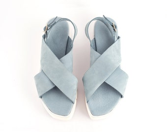 Platform Shoes ~ Popular Shoe Stores ~ Sexy Shoes ~ Gray Women Sandals ~ Gray Leather  Shoes ~ Platform Shoes ~ Online Shoes Shopping~ Heels