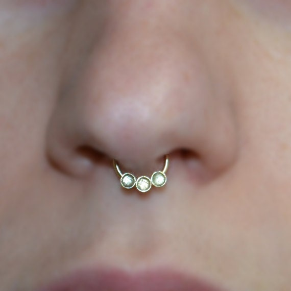 Gold Septum Ring 2mm White Topaz - Septum Piercing 16 gauge - Nose Ring Hoop - Tragus Jewelry - Daith Piercing - Forward Helix Earring
