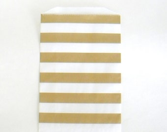 "10 Metallic Gold and White Stripe Paper Gift Bags, 5"" x 7.5"", Party Favor Bags, Candy Buffet Bags, Christmas Gift Bags, Valentine's Day Bag"