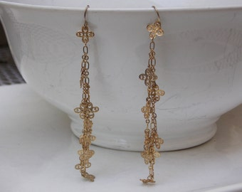 Very Long Dangle Gold Earrings, Lacy and Lightweight