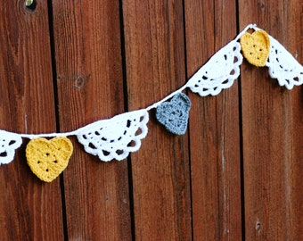 Crochet Hearts and Half Doilies Garland