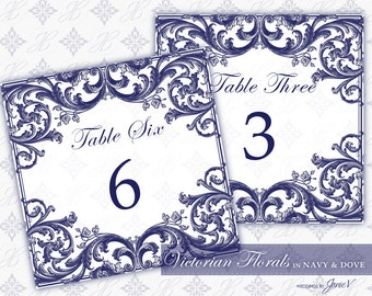 DIY Printable Wedding Table Number Template | Printable Table Number (Tent Style) | Victorian Florals in Navy & Dove