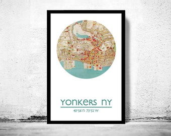 YONKERS - city poster - city map poster print