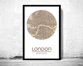 LONDON - city poster - city map poster print
