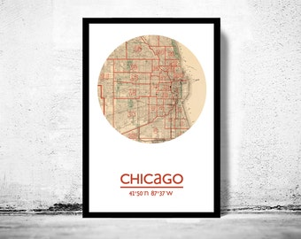 CHICAGO - city poster - city map poster print