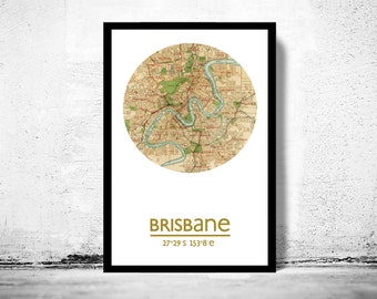 BRISBANE - city poster - city map poster print