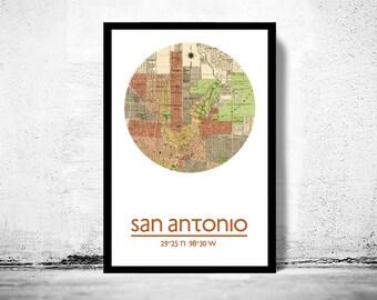 SAN ANTONIO - city poster - city map poster print