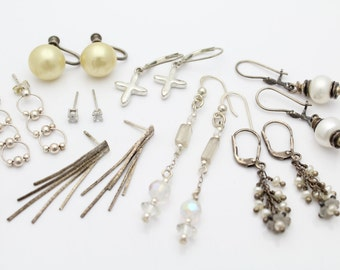 Sterling Silver 925 Earring Lot Some Vintage Various Sizes / Styles. [4450]
