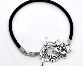 "Overstock ~ Flower Toggle Clasp Black Leather 8"" Toggle Bracelets"