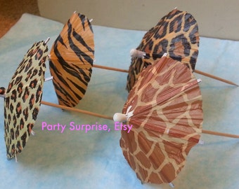 Safari Drink Parasols, Safari Party Drink Umbrellas, Animal Print Drink Parasols, Jungle Party, Zoo party, Circus Party