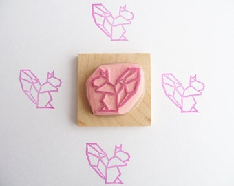 Origami squirrel hand carved rubber stamp