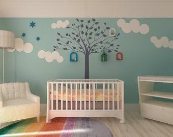 Tree nursery room  - Reusable Wall Stencil - Kids Room Decor Stencil