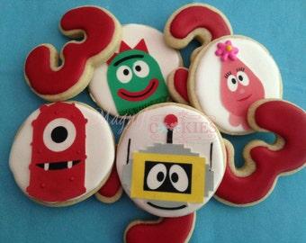 Yo Gabba Gabba decorated Cookies - Personalized