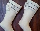 His and Hers matching elegant burlap Christmas stockings!