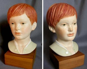 Vintage Porcelain Bust of Boy, Jeremy, by Cybis Porcelain, USA, Red Hair and Freckles