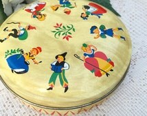 Vintage English Decorative Nursery Rhyme Horner tin toffee box, Round, candy, vanity, trinket, storage, jewelry, décor, England, Shepard