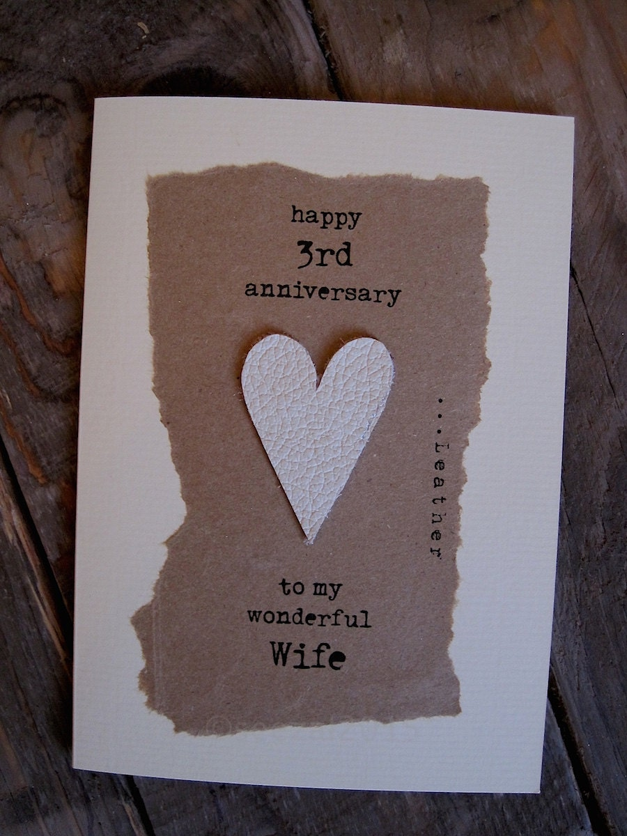 3rd wedding anniversary card leather traditional symbol