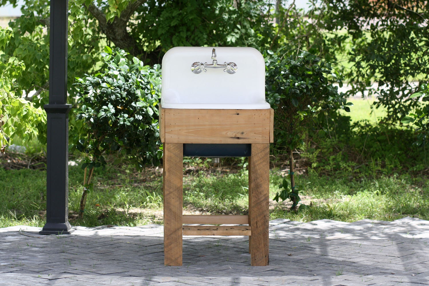 Farmhouse Sink Stand : Refinished Cast Iron Porcelain Utility Sink with by readytore