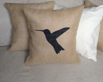 Hummingbird Burlap Pillow Cover