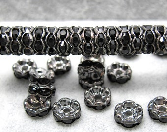 25 Pieces 8mmRhinestone Rondelles|Grey & Black|Spacer Beads|Beading Supplies|Jewelry Findings|Wavy Beads|Bead Findings|Rondelle Beads