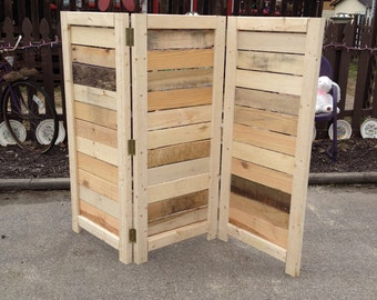 Handmade Primitive Room Divider Movable Wall Screen Great For Covering Central Air Units