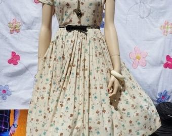 50's Atomic Age Novelty Dress / Pin Up Dress / Bombshell Dress / 50s Rockabilly Dress / 50s Shirt Dress / Pin Up Bombshell Retro Dress/