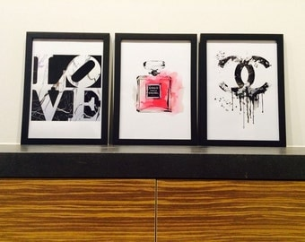 3 x CHANEL LOVE marble , Framed Poster Prints Home Decor Art A3 Size