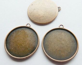 3 x Antique Copper Round Medium Bezel Cabachon Setting Pendants 37mm