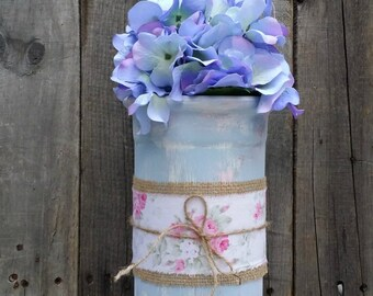 Hand Painted and Distressed Terra Cotta Flower Vase, Shabby/Rustic Wedding Centerpiece, Shabby Chic Decor, Garden Tea Party Decor