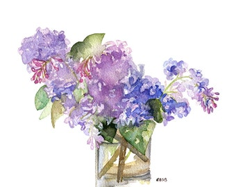 "Lilac Painting - Print from Original Watercolor Painting, ""Fresh Cut Lilacs"", Garden Decor, Purple Flower, Spring, Botanical"