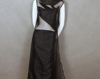 Black Sheer  Avant Garde Dress with High Neckline